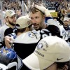 Tampa Bay Lightning captain Dave Andreychuk, center, is embraced by the Lightning'sTim Taylor following the teams 2-1 game 7 win over the Philadelphia Flyers on Saturday, May 22, 2004 in Tampa, Fla. (Photo Scott Audette/Tampa Bay Lightning)