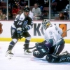 4 Dec 1996:  Goaltender Guy Hebert of the Anaheim Mighty Ducks and rightwinger Dino Ciccarelli #12  of the Tampa Bay Lightning do the scramble during a game at the Arrowhead Pond in Anaheim, California.  The Lightning won 3-1. Mandatory Credit: Glenn Crat