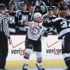 25 Jan 2002:  Right wing Rob Ray #32 of the Buffalo Sabres fights with left wing Gordie Dwyer #34 of the Tampa Bay Lightning during the NHL game at the HSBC Arena in Buffalo, New York.  The Sabres defeated the Lightning 4-1.   Mandatory copyright notice: Copyright 2002 NHLI   Mandatory Credit:  Rick Stewart/Getty Images