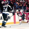 2000 Season: New Jersey's Randy McKay fires slapshot past Tampa defenseman Jay Wells.  (Photo by Jim Leary/Getty Images)