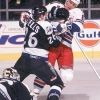 1996 Season: Patrick Flatley (NYR) and Jay Wells (TB) go to war in front of Tampa net.  (Photo by Bruce Bennett Studios via Getty Images Studios/Getty Images)