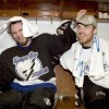 Tampa Bay Lightning's Martin St. Louis, left, embraces the Lightning's Brad Richards, right, in the locker room following the teams 2-1 game 7 win over the Philadelphia Flyers on Saturday, May 22, 2004 in Tampa, Fla. (Photo Scott Audette/Tampa Bay Lightning)