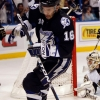 TAMPA, FL - APRIL 25: Teddy Purcell #16 of the Tampa Bay Lightning celebrates a goal against Goaltender Mark-Andre Fleury #29 of the Pittsburgh Penguins in Game Six of the Eastern Conference Quarterfinals during the 2011 NHL Stanley Cup Playoffs at the St. Pete Times Forum on April 25, 2011 in Tampa, Florida. (Photo by Eliot J. Schechter/Getty Images)