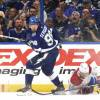 TAMPA, FLORIDA - JULY 07: Mikhail Sergachev #98 of the Tampa Bay Lightning looks to the puck after tripping up Nick Suzuki #14 of the Montreal Canadiens during the second period of Game Five of the 2021 Stanley Cup Final at Amalie Arena on July 07, 2021 in Tampa, Florida. Sergachev was penalize for tripping on the play. (Photo by Dave Sandford/NHLI via Getty Images)