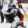 OTTAWA - NOVEMBER 5: Nick Foligno #71 of the Ottawa Senators stickhandles the puck past Todd Fedoruk #17 of the Tampa Bay Lightning at Scotiabank Place on November 5, 2009 in Ottawa, Ontario, Canada.  (Photo by Andre Ringuette/NHLI via Getty Images)